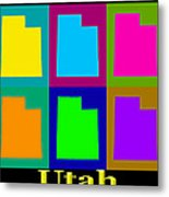 Colorful Utah State Pop Art Map Metal Print