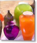 Colorful Vases I - Still Life Metal Print
