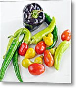 Colorful Veggies On White Metal Print