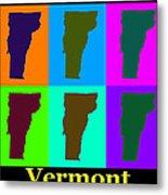 Colorful Vermont Pop Art Map Metal Print