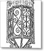 Colorful Vibrant Red Green Gothic Sconce Light Black And White Stamp Digital Art Metal Print