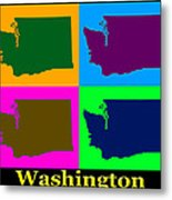 Colorful Washington State Pop Art Map Metal Print