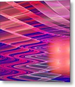 Colorful Waves Abstract Fractal Art Metal Print