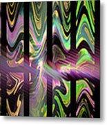 Colorful Waves And Stripes Fractal Art Metal Print