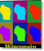 Colorful Wisconsin Pop Art Map Metal Print