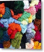 Colorful Yarn Otavalo Market Ecuador Metal Print