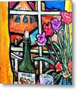 Colosi Wine With Flowers Metal Print by Chaline Ouellet