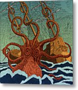 Colossal Octopus Attacking Ship 1801 Metal Print