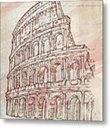 Colosseum Hand Draw Metal Print