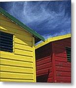 Coloured Beach Huts Metal Print