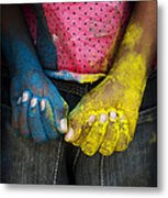 Coloured Hands Metal Print by Tim Gainey