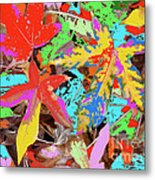 Coloured Leaves By M.l.d. Moerings  2009 Metal Print