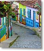 colourful architecture in Guatape Metal Print