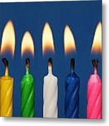 Colourful Candles Lit Metal Print