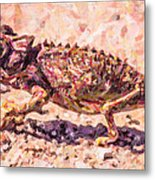 Colourful Chameleon Metal Print