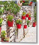 Colourful Flower Pots Metal Print