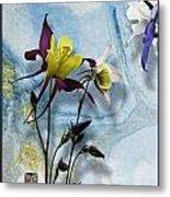 Columbine Blossom With Suminagashi Ink Metal Print