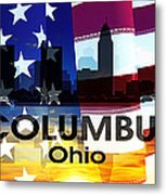 Columbus Oh Patriotic Large Cityscape Metal Print