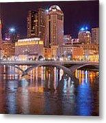 Columbus Skyline At Night Color Panorama Ohio Metal Print