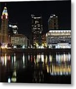 Columbus Skyline At Night Metal Print