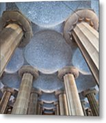 Columns And Domes Of Hypostyle Room In Park Guell Metal Print