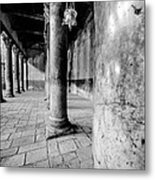 Columns At The Church Of Nativity Black And White Vertical Metal Print