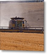Combine Harvester And Cows Metal Print