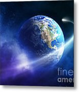 Comet Moving Passing Planet Earth Metal Print
