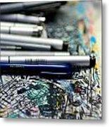 Comic Book Artists Workspace Study 1 Metal Print