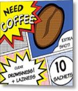 Comic Stripes Of Coffee Drink Metal Print