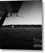 Coming In To Land On The Water In A Seaplane Next To Fort Jefferson Garden Key Dry Tortugas Florida  Metal Print by Joe Fox