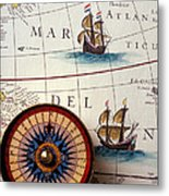 Compass And Old Map With Ships Metal Print