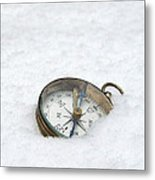 Compass In Snow Metal Print
