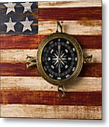 Compass On Wooden Folk Art Flag Metal Print