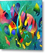 Composition In Blue And Green Metal Print