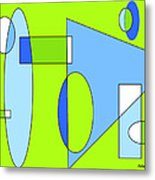 Composition In Chartreuse And Blue Metal Print