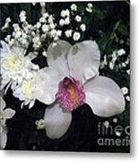 Composition With A Pink Orchid Metal Print