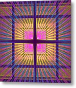 Computer Generated Fractal Squares Geometric Pattern Metal Print