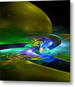 Computer Generated Planet Sphere Abstract Fractal Flame Modern Art Metal Print