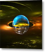 Computer Generated Sphere Abstract Fractal Flame Modern Art Metal Print