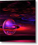 Computer Generated Sphere Red Abstract Fractal Flame Art Metal Print