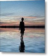 Concept Image Of Young Boy Walking On Water In Sunset Landscape Digital Painting Metal Print by Matthew Gibson
