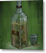 Conceptual Illustration Of Man Drowning In Alcohol Bottle Metal Print