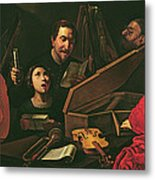 Concert With Musicians And Singers, C.1625 Oil On Canvas Metal Print