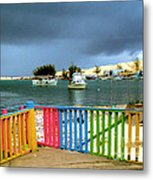 Conch Boats Arriving Metal Print