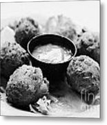 Conch Fritters With Sauce Served In A Restaurant Cafe In Key West Florida Usa Metal Print by Joe Fox