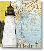 Concord Pt Lighthouse Md Nautical Chart Map Art Cathy Peek Metal Print