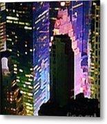 Concrete Canyons Of Manhattan At Night  Metal Print