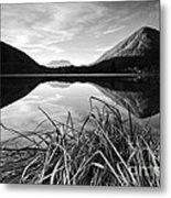 Cone Shaped Mountain Reflected In Lake At Sunset Metal Print