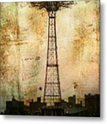 Coney Island Eiffel Tower Metal Print